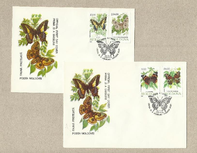 MOLDOVA 1993 BUTTERFLY AND MOTH STAMP ISSUE TWO FIRST DAY COVERS
