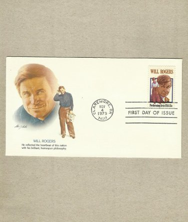 UNITED STATES WILL ROGERS STAMP 1979 FDC FIRST DAY COVER