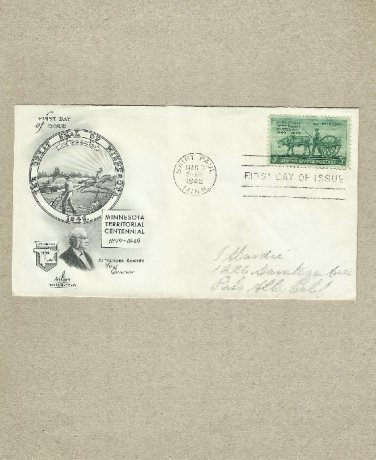 UNITED STATES CENTENNIAL MINNESOTA TERRITORY FIRST DAY COVER 1949