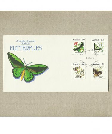 AUSTRALIA BUTTERFLIES ON STAMPS FIRST DAY COVER 1983