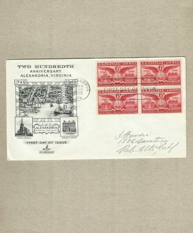 UNITED STATES 200th ANNIVERSARY ALEXANDRIA VIRGINIA FIRST DAY COVER 1949