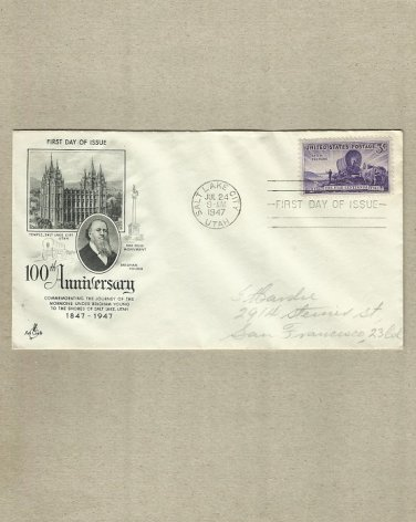 UNITED STATES SALT LAKE CITY MORMANS FIRST DAY COVER 1947