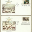 UNITED STATES PAIR CHRISTMAS 1976 CURRIER & IVES FIRST DAY COVERS