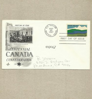 UNITED STATES CENTENNIAL CANADA FEDERATION 1967 FDC FIRST DAY COVER