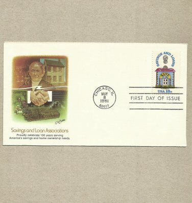 UNITED STATES 150 YEARS SAVINGS AND LOAN ASSOCIATIONS STAMP 1981 FDC FIRST DAY COVER