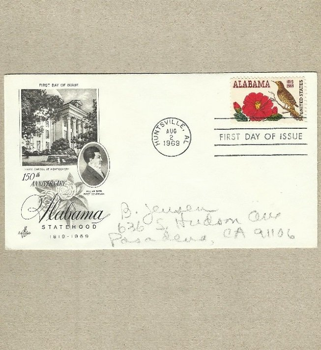 UNITED STATES 150th ANNIVERSARY OF ALABAMA STATEHOOD FIRST DAY COVER 1969
