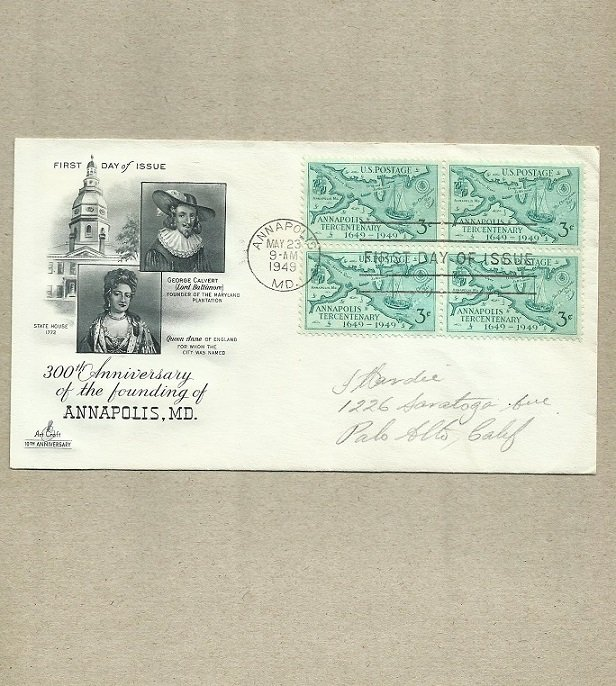 UNITED STATES 300th ANNIVERSARY ANNAPOLIS FIRST DAY COVER 1949