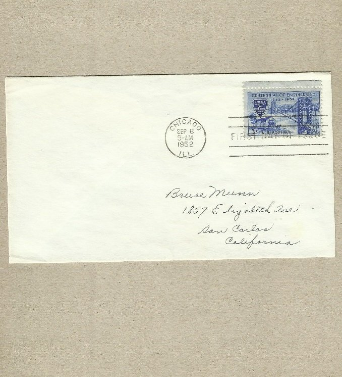 UNITED STATES CENTENNIAL OF ENGINEERING 1852 1952 FIRST DAY COVER 1952