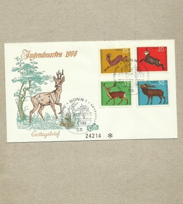 GERMANY ANIMAL WILDLIFE FOUR STAMP FDC FIRST DAY COVER 1966