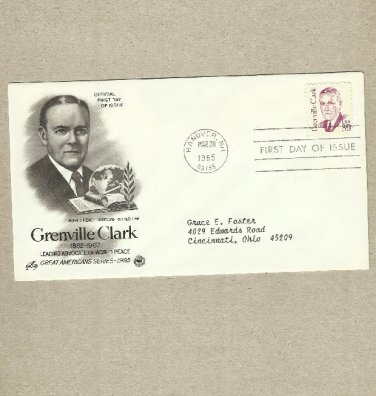 UNITED STATES GRENVILLE CLARK ADVOCATE OF WORLD PEACE FDC FIRST DAY COVER 1985