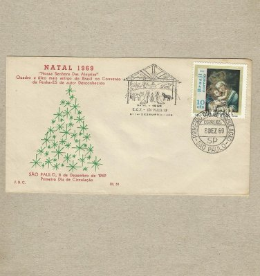 BRAZIL CHRISTMAS NATAL FDC FIRST DAY COVER 1969