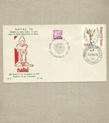 BRAZIL CHRISTMAS NATAL FDC FIRST DAY COVER 1973