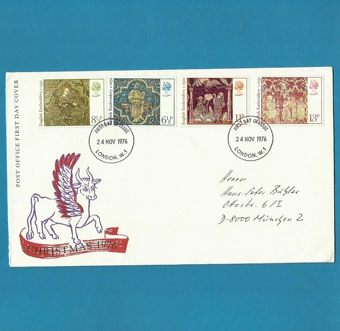 UNITED KINGDOM UK CHRISTMAS FDC FIRST DAY COVER 1976