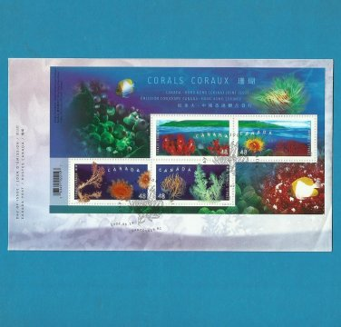 CANADA HONG KONG JOINT ISSUE CORAL FDC FIRST DAY COVER 2002