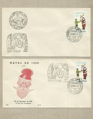 BRAZIL CHRISTMAS SANTA CLAUS FIRST DAY COVERS 1968