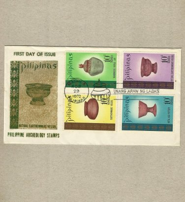 PHILIPPINES PHILIPPINE ARCHEOLOGY STAMPS FIRST DAY COVER 1972
