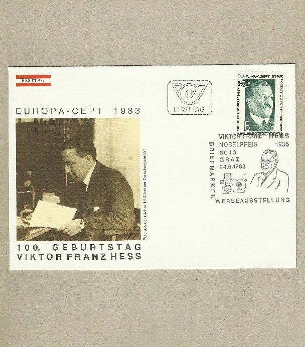 AUSTRIA EUROPA STAMP VIKTOR FRANZ HESS 1983 FIRST DAY COVER