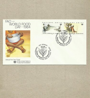 UNITED NATIONS GENEVA WORLD FOOD DAY TWO STAMP FIRST DAY COVER 1984