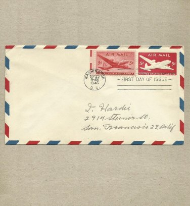 UNITED STATES 5 FIVE CENT 1946 AIR MAIL COVER EMBOSSED ENVELOPE