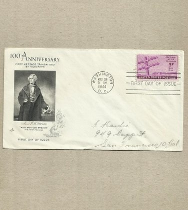 UNITED STATES 100th ANNIVERSARY FIRST TELEGRAPH MESSAGE FIRST DAY COVER 1944