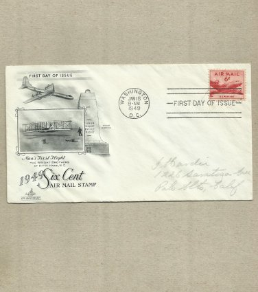 UNITED STATES 1949 SIX CENT AIR MAIL STAMP FIRST DAY COVER