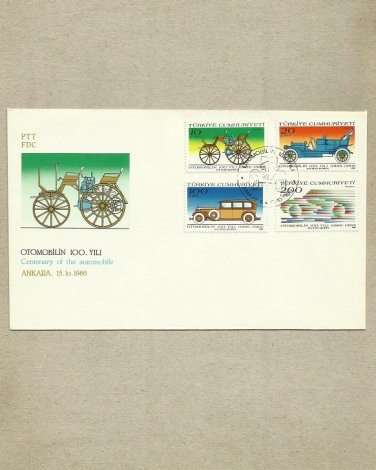 TURKEY HISTORY OF THE AUTOMOBILE FIRST DAY COVER 1986