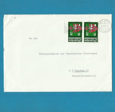 LIECHTENSTEIN COAT OF ARMS TWO STAMP POSTAL COVER 1980