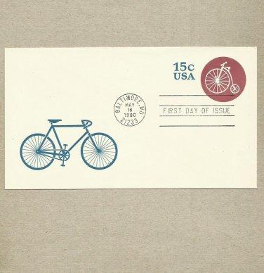 UNITED STATES PENNY FATHING BICYCLE EMBOSSED PREPRINTED STAMP FIRST DAY COVER 1980