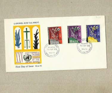MALTA 25th ANNIVERSARY OF THE UNITED NATIONS STAMPS FIRST DAY COVER 1970