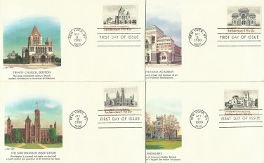 UNITED STATES AMERICAN ARCHITECTURE FOUR FIRST DAY COVERS FDCs 1980