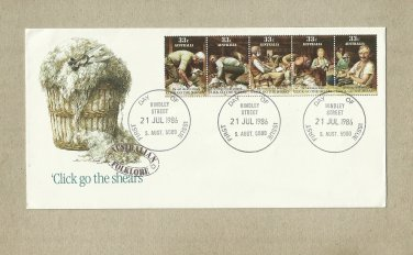 AUSTRALIA CLICK GO THE SHEARS FIRST DAY COVER 1986