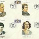 MOLDOVA STARS OF MUSIC AND STAGE FOUR FIRST DAY COVERS 1994