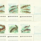 RUSSIA SOVIET UNION SIX NATIVE FISH UNUSED POST OFFICE ENVELOPES 1986