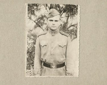 SOVIET SOLDIER PHOTOGRAPH WITH PERSONAL MESSAGE DECEMBER 1958 RAVA-RUSKA