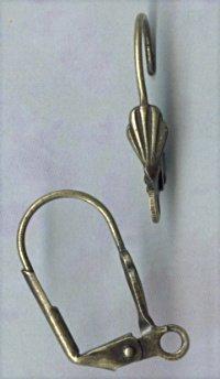 Antiqued Brass Shell Leverbacks w.loop (6pcs)