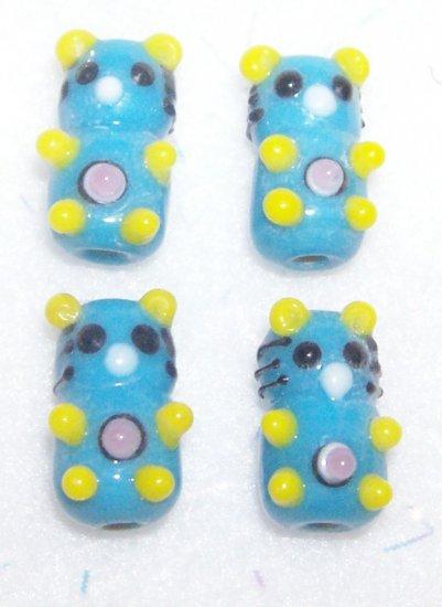 LAMPWORK Beads BLUE TEDDY BEARS HANDMADE