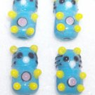 LAMPWORK Beads BLUE TEDDY BEARS HANDMADE