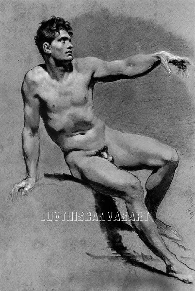 VINTAGE MALE NUDE GAY INTEREST 1 CANVAS ART PRINT LARGE