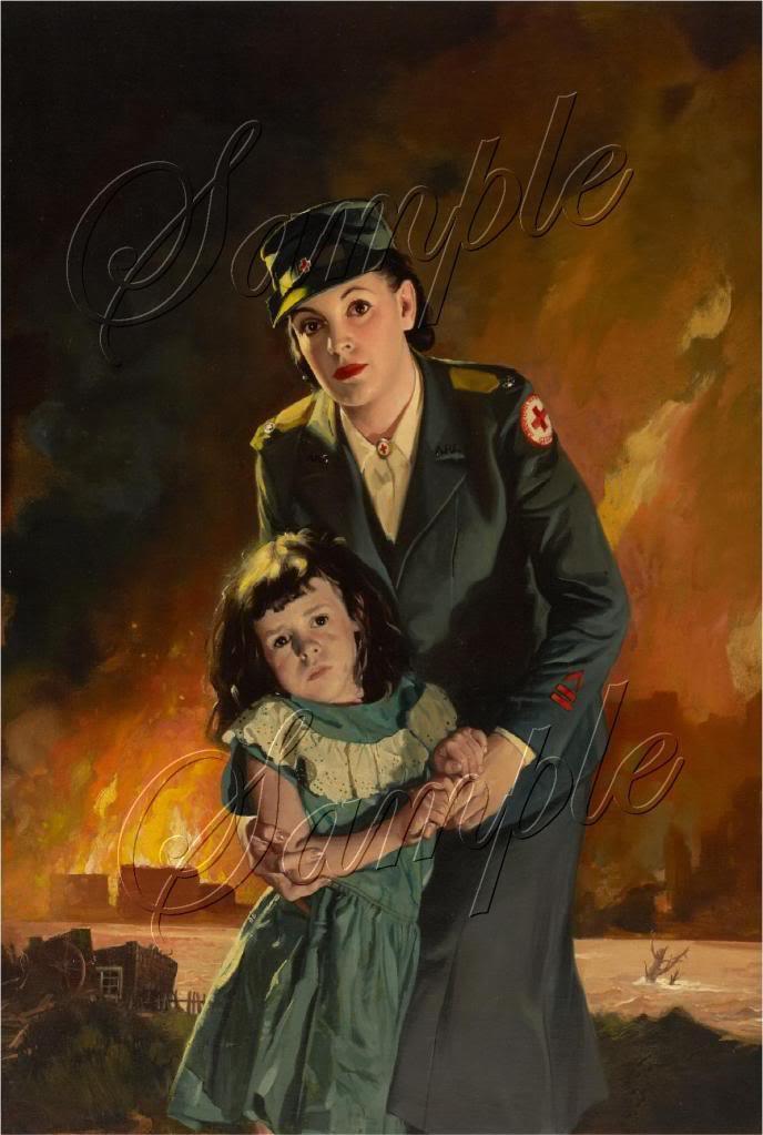 VINTAGE AMERICAN RED CROSS NURSE CHILD WAR CANVAS ART