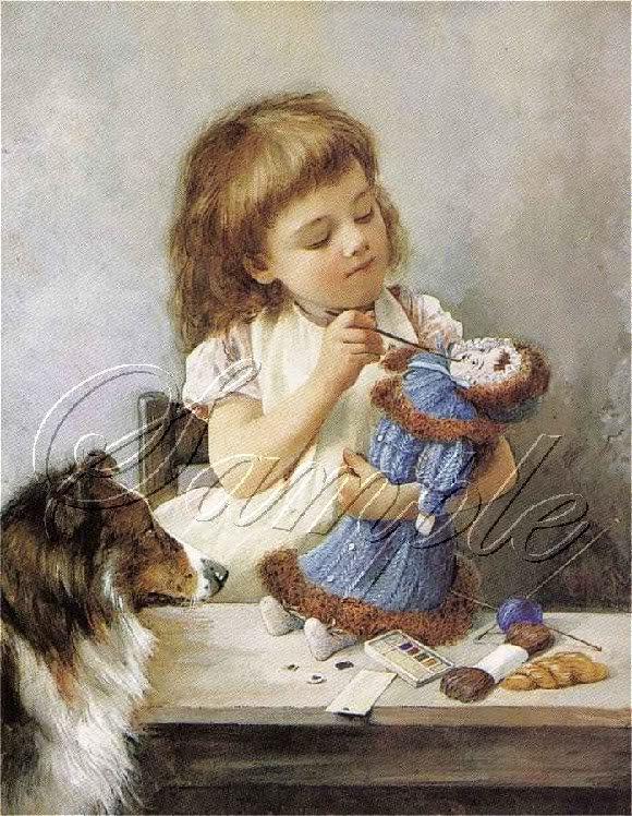 VINTAGE CHILD ARTIST PAINT DOLL COLLIE DOG CANVAS ART