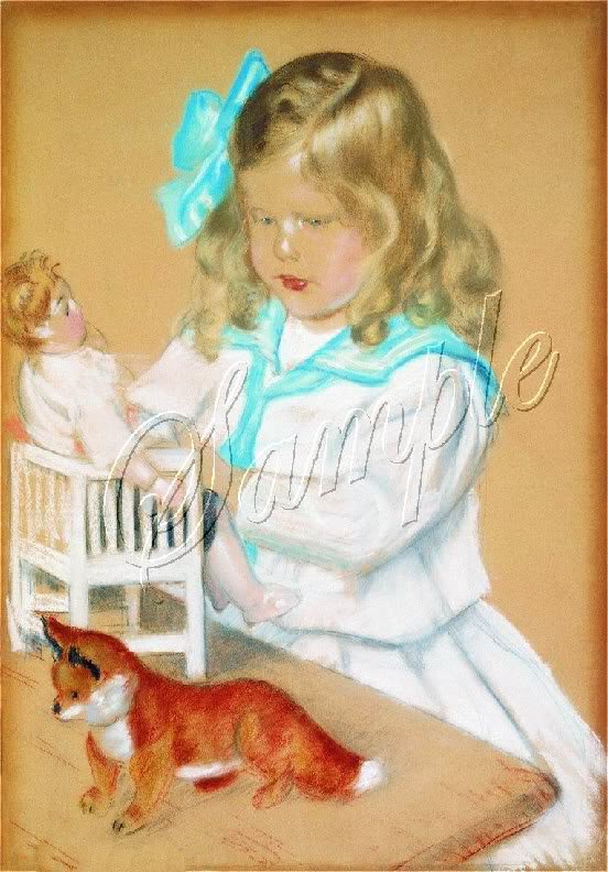 VINTAGE CHILD GIRL ANTIQUE DOLL PASTEL CANVAS ART PRINT