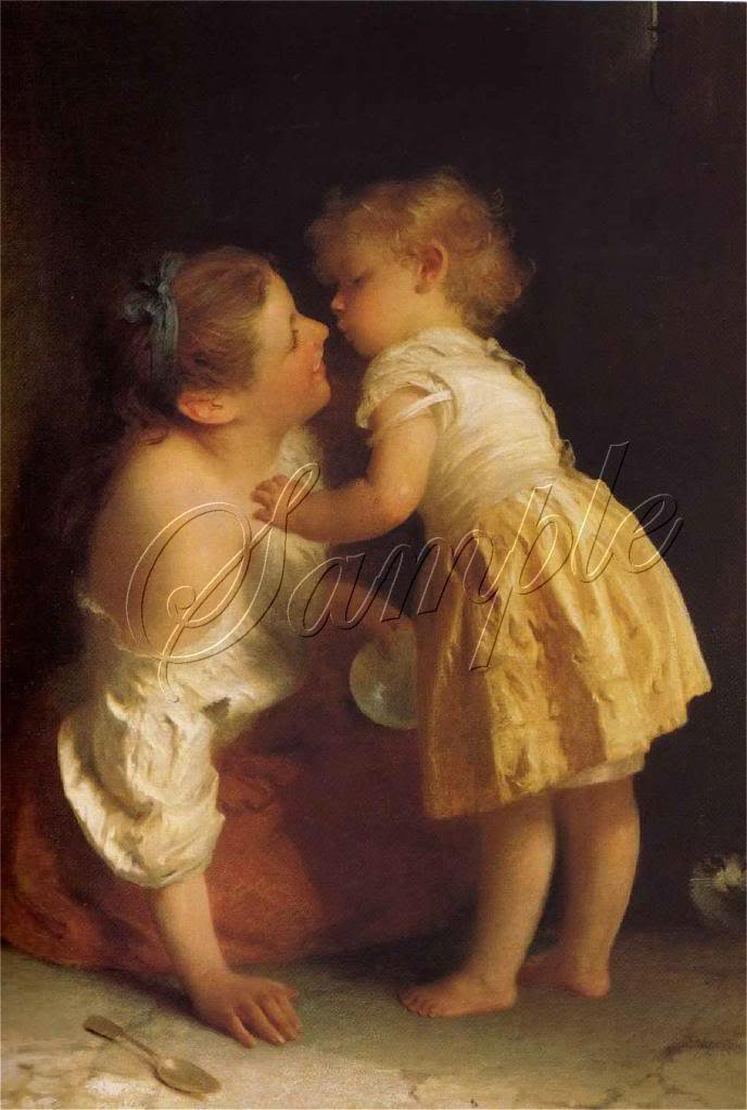 VINTAGE MOTHER CHILD KISS LOVE MOTHERS DAY CANVAS ART