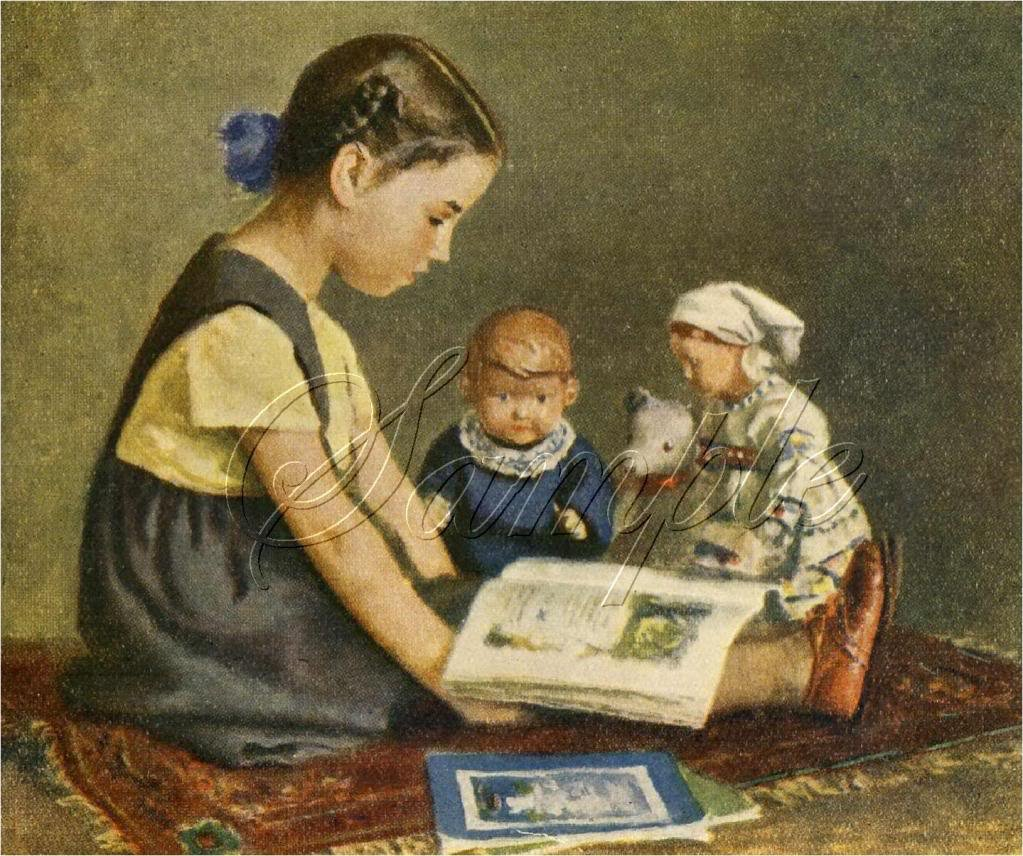 VINTAGE GIRL ANTIQUE DOLL STORY BOOK CANVAS ART- LARGE