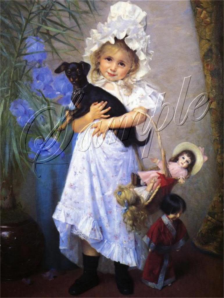 VICTORIAN CHILD GIRL DOLLS DACHSHUND DOG CANVAS ART~BIG