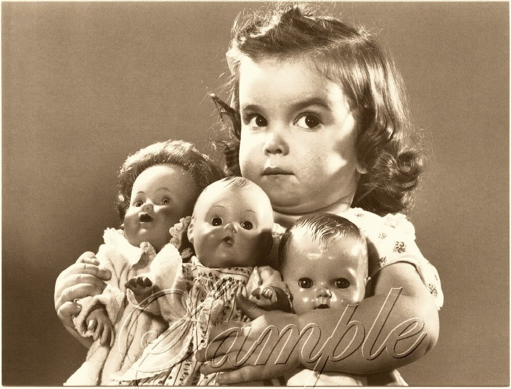 VINTAGE 50's CHILD ANTIQUE DOLLS PHOTO CANVAS ART PRINT