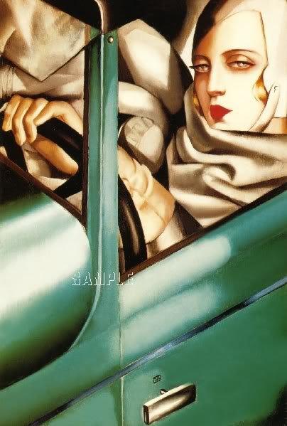 ART NOUVEAU WOMAN DRIVING CAR CANVAS ART PRINT LARGE