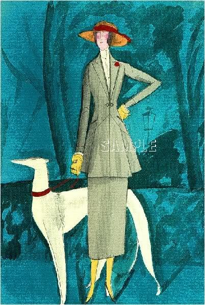 ART DECO COUTURE LADY BORZOI DOG CANVAS ART PRINT LARGE