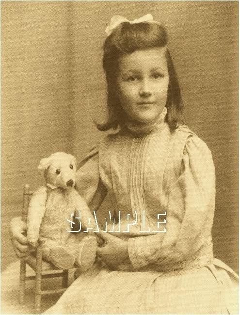 ANTIQUE TEDDY BEAR GIRL CHILD PHOTO CANVAS PRINT- LARGE
