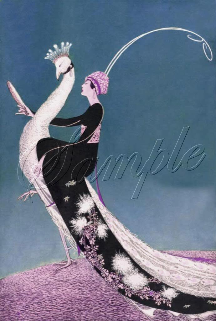 ART DECO LADY RIDING WHITE PEACOCK BIRD CANVAS PRINT
