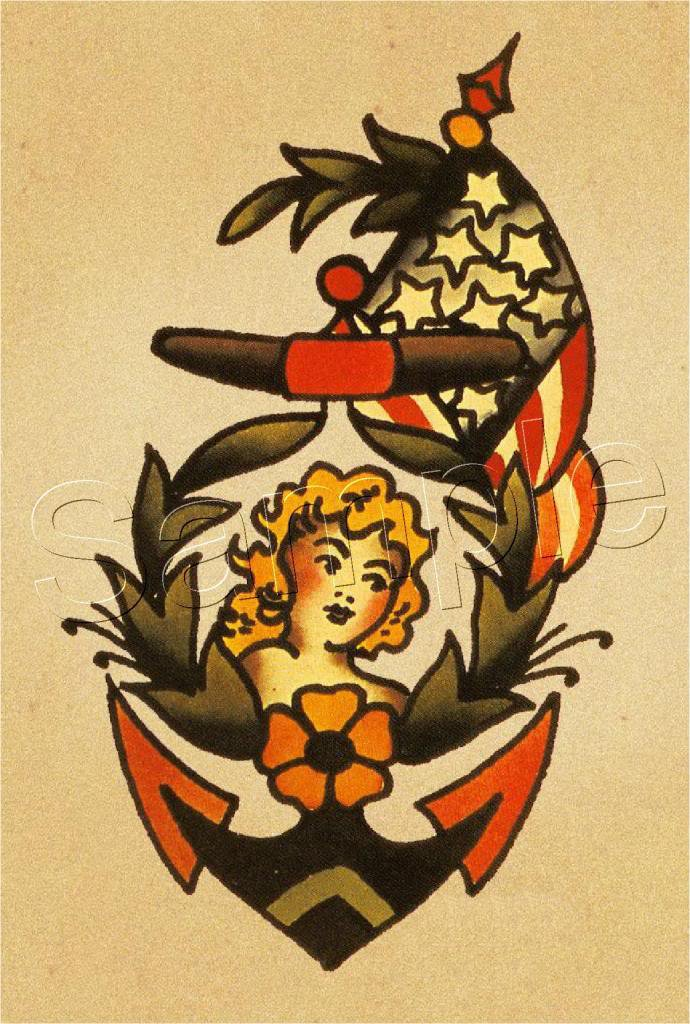 Vintage Navy Anchor Flag Pin Up Girl Tattoo Canvas Art